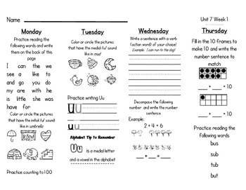 WONDERS Kindergarten Homework Packet Unit 7