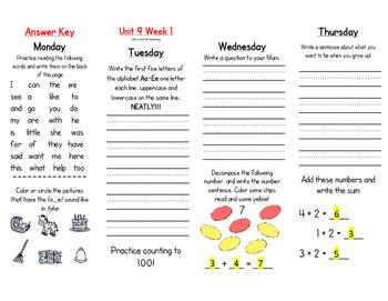WONDERS Kindergarten Homework Packet Unit 9