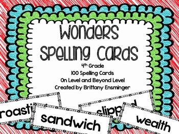 McGraw Hill WONDERS Spelling Cards