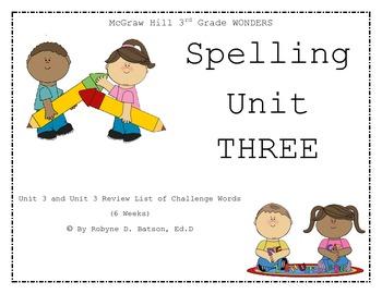 McGraw Hill WONDERS Spelling Unit 3 (3rd Grade)