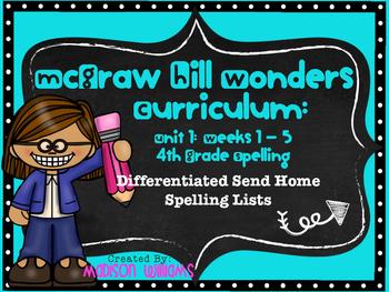 McGraw Hill Wonders Unit 1 Weeks 1-5 Spelling Lists