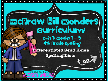 McGraw Hill Wonders Unit 1 Weeks 1-5 Spelling Lists