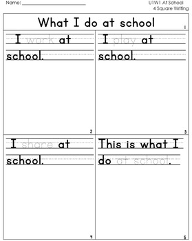 McGraw Hill Wonders 1st Grade  4square Writing templates Unit 1