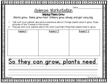 1st Grade Science SS Workstation Printables to Correlate with Wonder