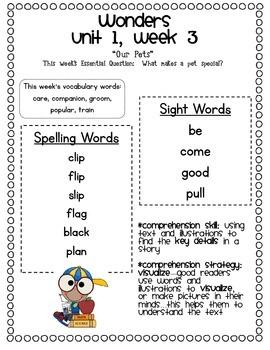 McGraw-Hill Wonders 1st Grade Smart Start & Unit 1 Parent Communication