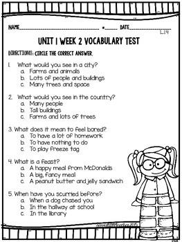 McGraw Hill Wonders 1st Grade Unit 1 Vocabulary Tests