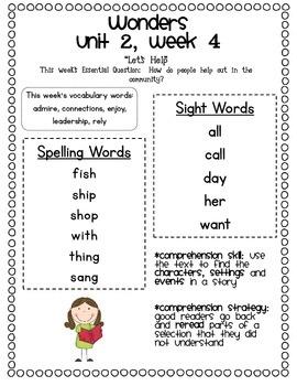 McGraw-Hill Wonders 1st Grade Unit 2 Parent Communication