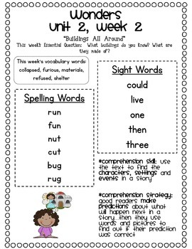 McGraw-Hill Wonders 1st Grade Unit 2 Parent Communication