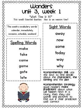 McGraw-Hill Wonders 1st Grade Unit 3 Parent Communication
