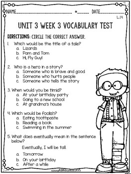 McGraw Hill Wonders 1st Grade Unit 3 Vocabulary Tests