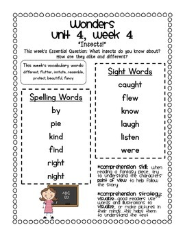 McGraw-Hill Wonders 1st Grade Unit 4 Parent Communication