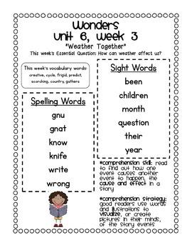 McGraw-Hill Wonders 1st Grade Unit 6 Parent Communication