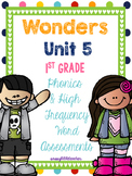McGraw Hill Wonders 1st Grade Unit 5 Phonics & High Frequency Word Assessments