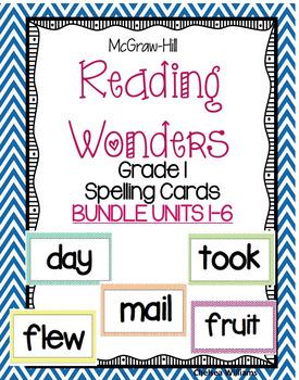 McGraw Hill Wonders 1st grade Spelling Words Unit 1-6 BUND