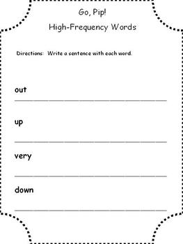 McGraw Hill Wonders 2013 1st Grade High Frequency Words Sentence Writing