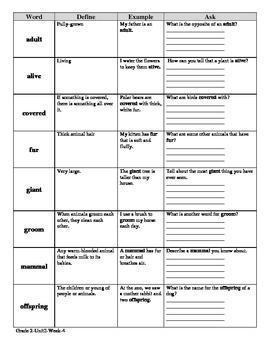 McGraw Hill Wonders 2nd Grade DEA Vocabulary SAMPLER