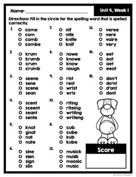 McGraw Hill Wonders 2nd Grade MC Spelling Test ~ Unit 4