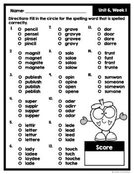 McGraw Hill Wonders 2nd Grade MC Spelling Test ~ Unit 6