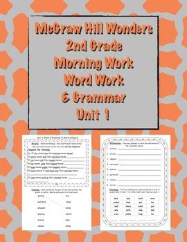 McGraw Hill Wonders 2nd Grade Morning Work and Grammar Unit 1