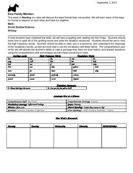 McGraw Hill Wonders 2nd Grade Unit 1, Week 1 Newsletter