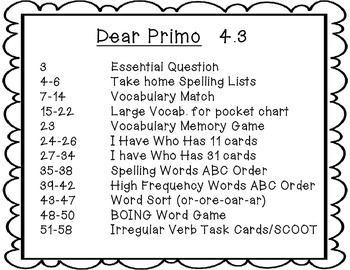 McGraw Hill Wonders 2nd Grade Unit 4 Story 3 DEAR PRIMO {8 Literacy Activities}