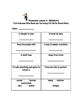 McGraw Hill Wonders 2nd Grade Vocabulary Activity unit 3