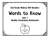 McGraw Hill Wonders 2nd Grade Weekly Vocabulary Notebooks