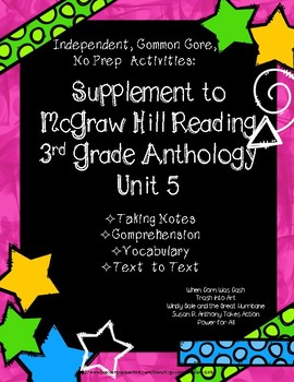 McGraw Hill Wonders 3rd Gr. Anthology Unit 5 No Prep Note Taking w/Questions
