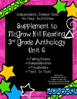 McGraw Hill Wonders 3rd Gr. Anthology Unit 6 No Prep Note