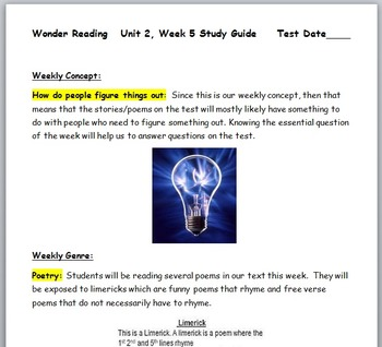 McGraw-Hill Wonders 3rd Gr Unit 2, Week 5 Bundle with Easy to Follow Power Point