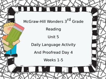 McGraw-Hill Wonders 3rd Grade Daily Language Activity Unit 5