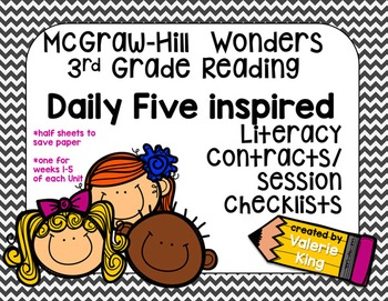 McGraw Hill Wonders 3rd Grade Reading Center Contracts/Checklists [editable]