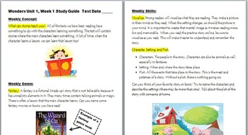 McGraw Hill Wonders 3rd Gr Unit 1, Week 1 Power Point and Study Guide Pack
