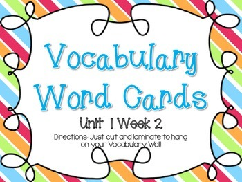Wonders Grade 3: Unit 1 Week 2 Vocabulary Games