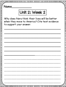 McGraw-Hill Wonders 3rd Grade  Unit 2 Weekly Open Ended Questions