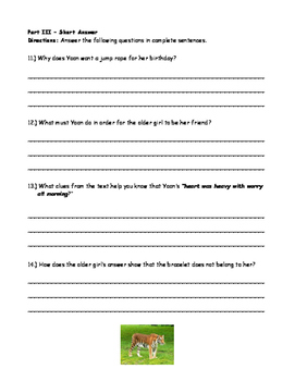 McGraw Hill Wonders - 3rd Grade - Yoon and the Jade Bracelet Comp. Activity
