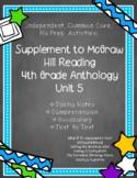 McGraw Hill Wonders 4th Gr. Anthology Unit 5 No Prep, Note