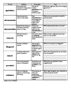 McGraw Hill Wonders 4th Grade DEA Vocabulary SAMPLER