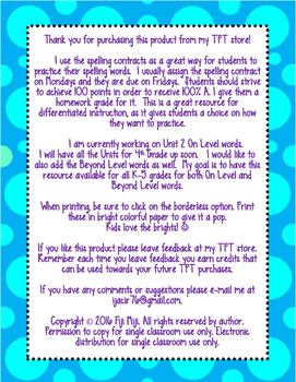 McGraw-Hill Wonders 4th Grade Spelling Contracts Unit 1 On Level