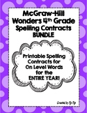 McGraw-Hill Wonders 4th Grade Spelling Contracts Units 1-5
