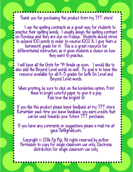 McGraw-Hill Wonders 4th Grade Spelling Contracts for Unit 2 On Level