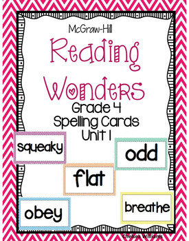 McGraw-Hill Wonders 4th Grade Spelling Words Unit 1