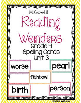 McGraw-Hill Wonders 4th Grade Spelling Words Unit 3