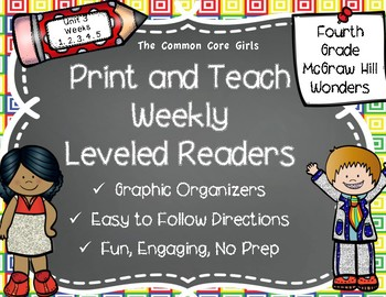 McGraw Hill Wonders 4th Grade Unit 3 Print and Teach Leveled Readers