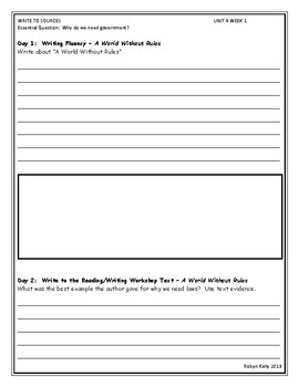 Wonders Write to Sources 4th  Grade Unit 4