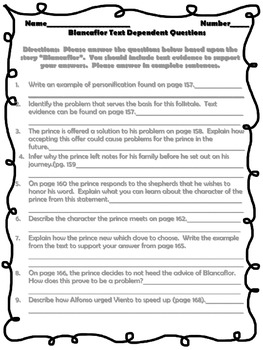 McGraw Hill Wonders, 5th - Blancaflor Text Dependent Questions