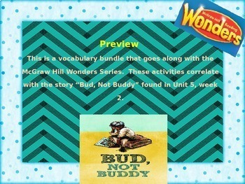 McGraw Hill Wonders, 5th - Bud, Not Buddy Vocabulary Bundle