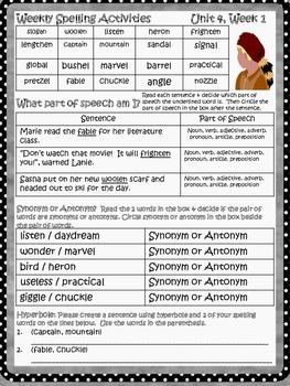 McGraw Hill Wonders, 5th - Davy Crockett Saves the World Spelling Activities