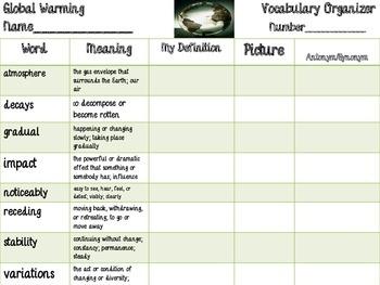 McGraw Hill Wonders, 5th - Global Warming Vocabulary Organizer
