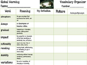 McGraw Hill Wonders, 5th - Global Warming Vocabulary Organizer